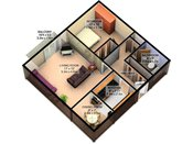 Robinwood 3D One Bedroom Floorplan