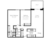 Royal Oaks Apartments Two Bedroom Floorplan