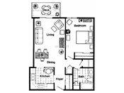 Royal Oaks Apartments One Bedroom Floorplan