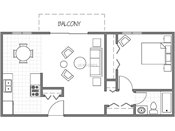 Evergreen East One Bedroom Floorplan