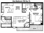 Walnut Trails Townhome Apts 1 Bedroom Floorplan