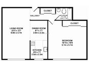 Georgetown on the River One Bedroom Floorplan