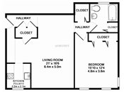 Valley View One Bedroom Floorplan