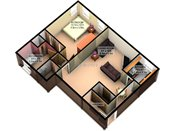 Valley View 3D One Bedroom Floorplan