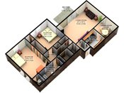Valley View 3D Two Bedroom Floorplan