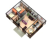 Maplewood 3D Two Bedroom Floorplan