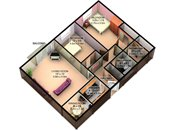 Sage Park 3D Two Bedroom Floorplan
