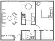 LaBlanche Apartments One Bedroom Floorplan