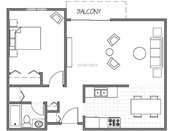 Park Vista One Bedroom Floorplan